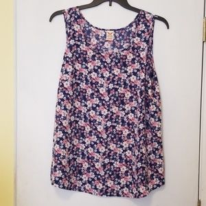 Faded Glory, blue floral, tank top, ladies 1X/16w